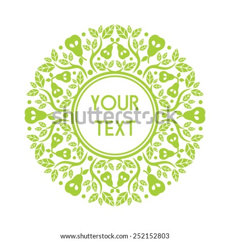 Round text frame with decorative elements - stock vector