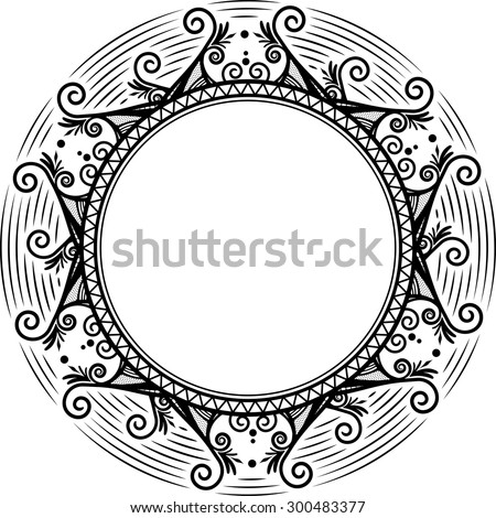 Round unusual decorative frame.  - stock vector