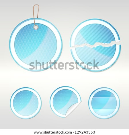 Round vector sticker blue glossy emblems in five variations, eps10 vector copyspace design element set - stock vector