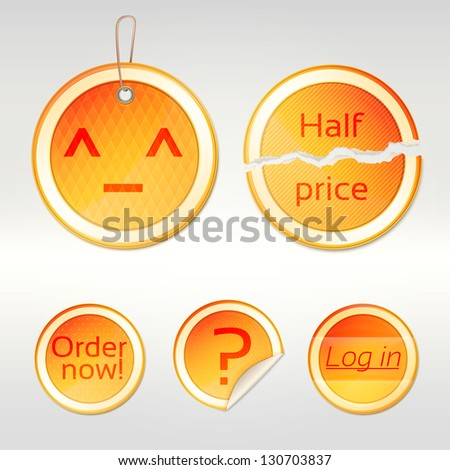 Round vector sticker set as orange glossy emblems in five variations, eps10 vector copyspace design elements - stock vector
