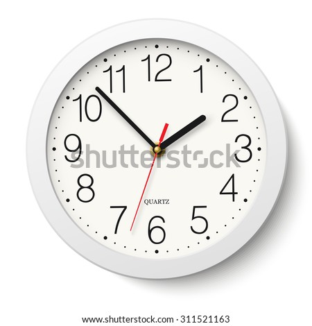 Round wall clock with white body isolated - stock vector