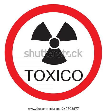Round warning sign with text in spanish toxic vector icon isolated - stock vector