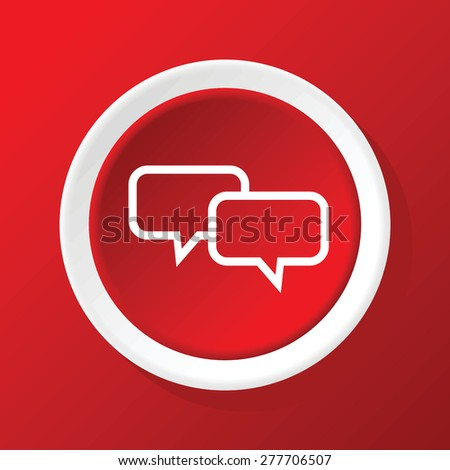 Round white icon with image of two text bubbles, on red background - stock vector