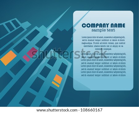 round with city image and place for text - stock vector