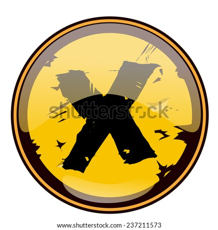 Round Yellow Grungy Sign with a Cross, Vector Illustration.  - stock vector
