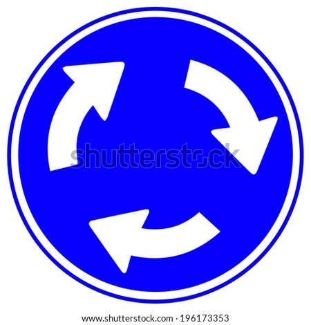 Roundabout crossroad road traffic sign isolated, blue, white arrows right hand  - stock vector