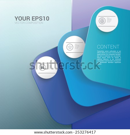 Rounded Corporate Style Blue Name Card Presentation Chart Vector Concept Infographic Page Layout Graphics Elements. Scalable EPS10 Illustration - stock vector