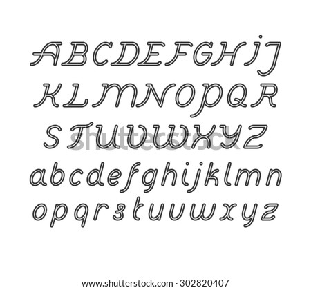 Rounded Double Line Font set - stock vector