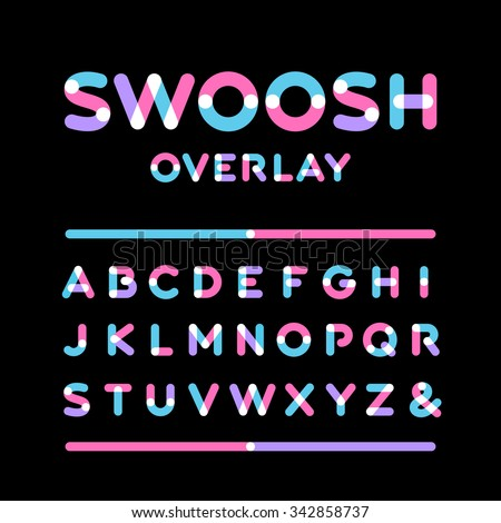 Rounded font. Vector alphabet with overlay effect letters. - stock vector