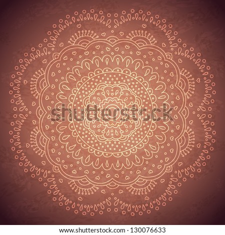 Rounded mandala vintage background. Vector image. - stock vector