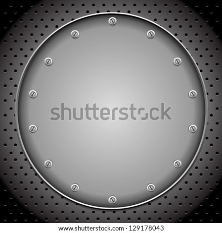 Rounded Metal Plate - stock vector