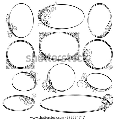 Rounded ornamental frames - stock vector