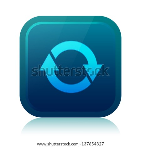 Rounded square update icon with reflection - stock vector