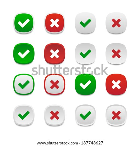 Rounded square validation buttons - stock vector