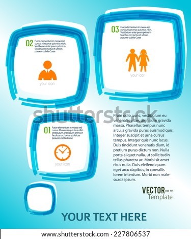 Rounded squares with paint stripes and space place for your text on watercolor blue background. Vector illustration EPS 10 for info-graphic web banner / presentation template / new product newsletters - stock vector