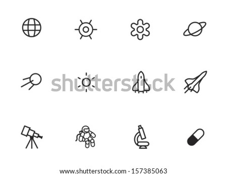 Rounded Thin Icon Set 01 - Earth, Gravity, Field, Planet, Satellite, Sun, Space ship, Telescope, Astronaut, Microscope, Pill - stock vector
