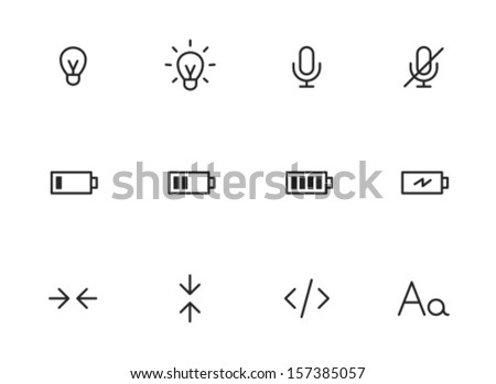 Rounded Thin Icon Set 01 - Lightbulb, Microphone, Battery, Size, Code, Font - stock vector