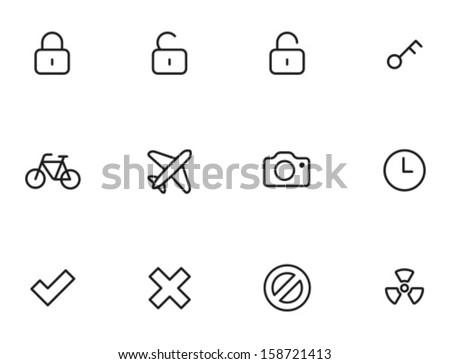 Rounded Thin Icon Set 01 - Lock, Unlock, Key, Bike, Plane, Camera, Clock, Tick, Cross, Delete, Radioactive - stock vector
