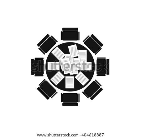 Roundtable meeting. Vector EPS 10 - stock vector