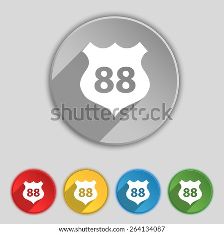 Route 88 highway icon sign. Symbol on five flat buttons. Vector illustration - stock vector