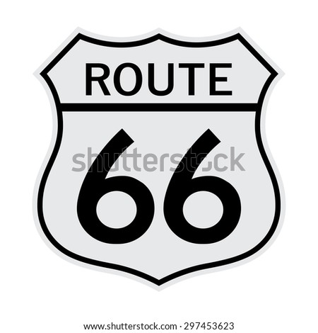 Route 66 Sign gray - stock vector