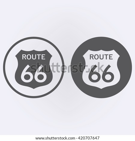 Route 66 Sign set in circle . Vector illustration - stock vector