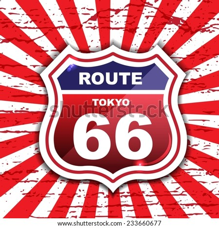 Route 66 sign set / origami / vintage label / tag  - stock vector