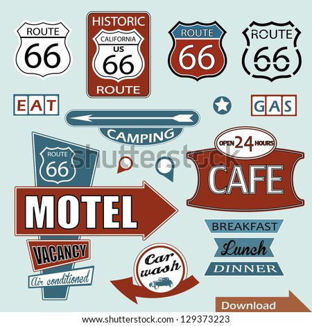 Route 66 sign. Symbol and Sticker - stock vector