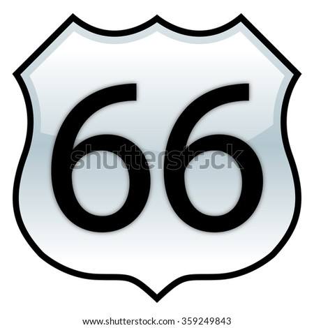 Route 66 sign with glossy effect - stock vector