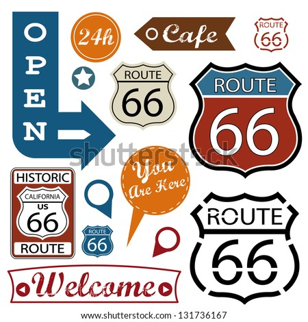 Route 66 Signs. Symbol and Sticker - stock vector