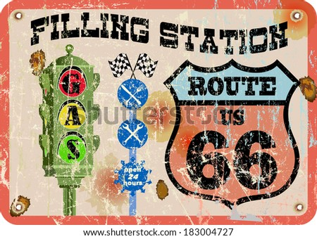route sixty six gas station sign,retro style - stock vector