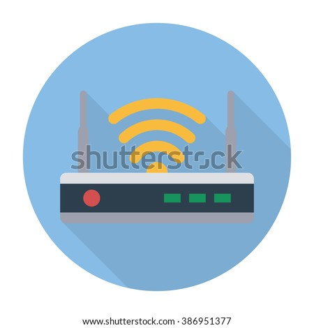 Router flat icon. Isolated router on blue background. Router icon with long shadow. Vector router. Router and signal symbol. Wi-Fi router. Router close-up - stock vector