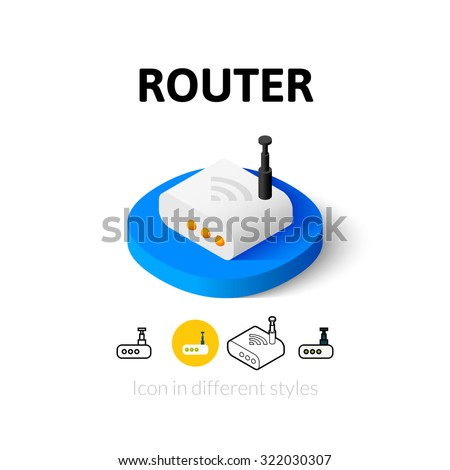 Router icon, vector symbol in flat, outline and isometric style - stock vector