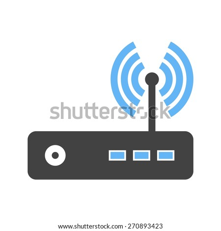 Router, modem hardware, connection icon vector image. Can also be used for communication, connection, technology. Suitable for web apps, mobile apps and print media. - stock vector