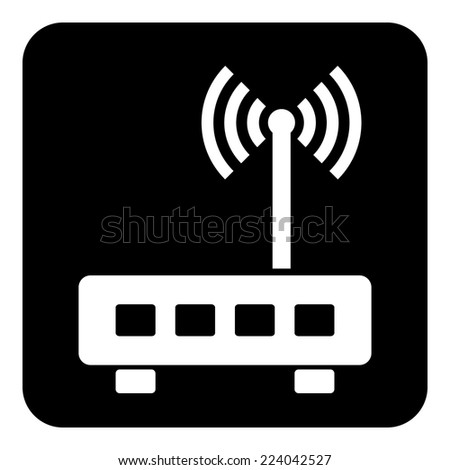 Router symbol button on white background. Vector illustration. - stock vector