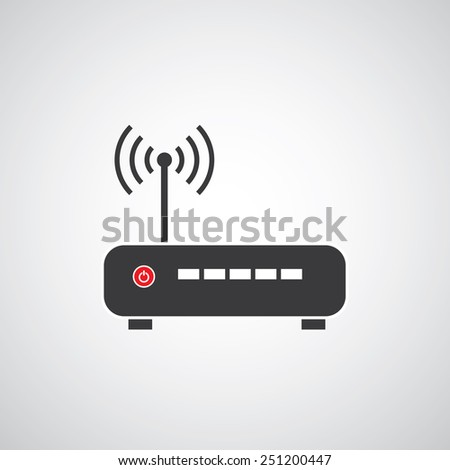 router vector icon on gray background   - stock vector