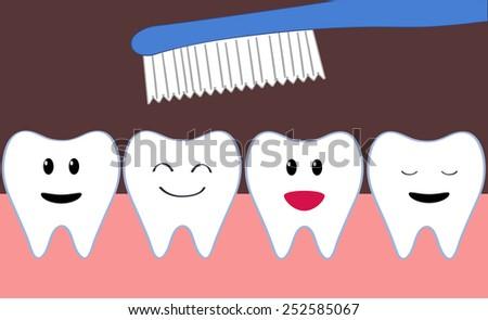 row of cartoon happy teeth during brushing - stock vector