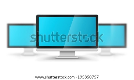 Row of computer displays with blank blue screens. Eps10 vector illustration. Gradient mesh used. Isolated on white background - stock vector