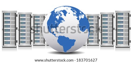 Row of Network Servers with Globe - The Globe base map is from NASA and Hand Drawn using the pen tool for maximum detail - stock vector
