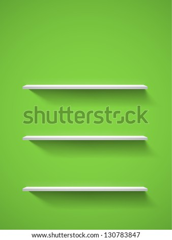 Row of realistic white empty bookshelves on a green wall. EPS10 vector background. - stock vector