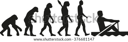Rowing evolution - stock vector