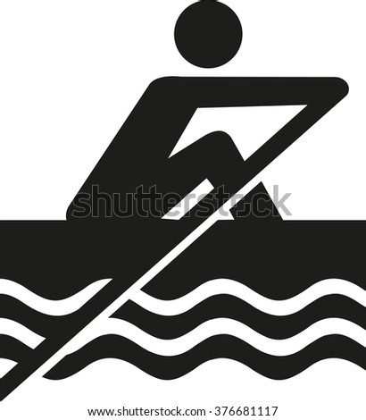Rowing pictogram - stock vector