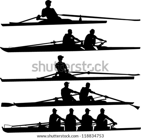 rowing set - vector - stock vector