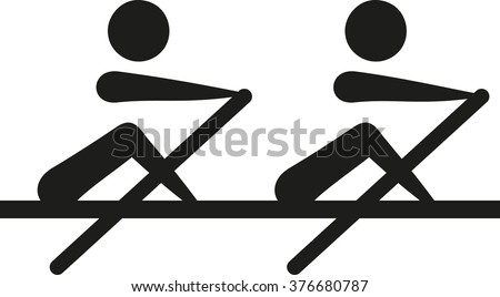 Rowing - two-man scull two party - stock vector