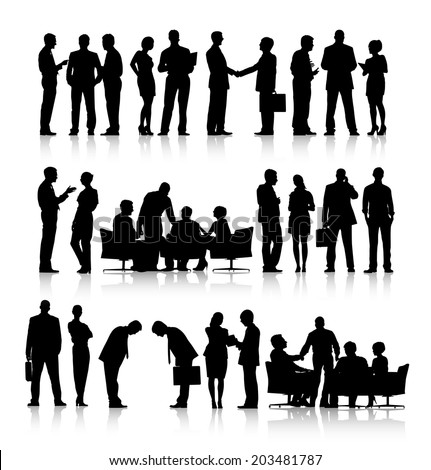 Rows of silhouettes of business people working in a white background. - stock vector