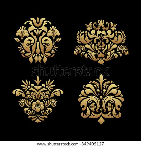 Royal background elements. Classic ornament design, victorian luxury baroque decor, vector illustration - stock vector