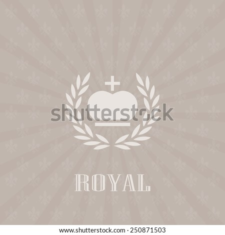 Royal background lily and crown design in retro style - stock vector
