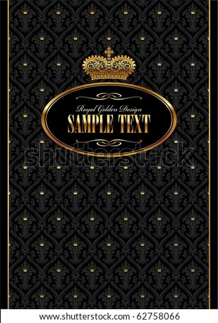 Royal black vector background with golden frame & crown - stock vector