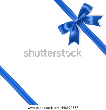 royal blue silky bow and ribbon corner on white background. vector - stock vector