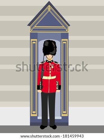 royal British guardsman holding a rifle and standing near a guard box  - stock vector